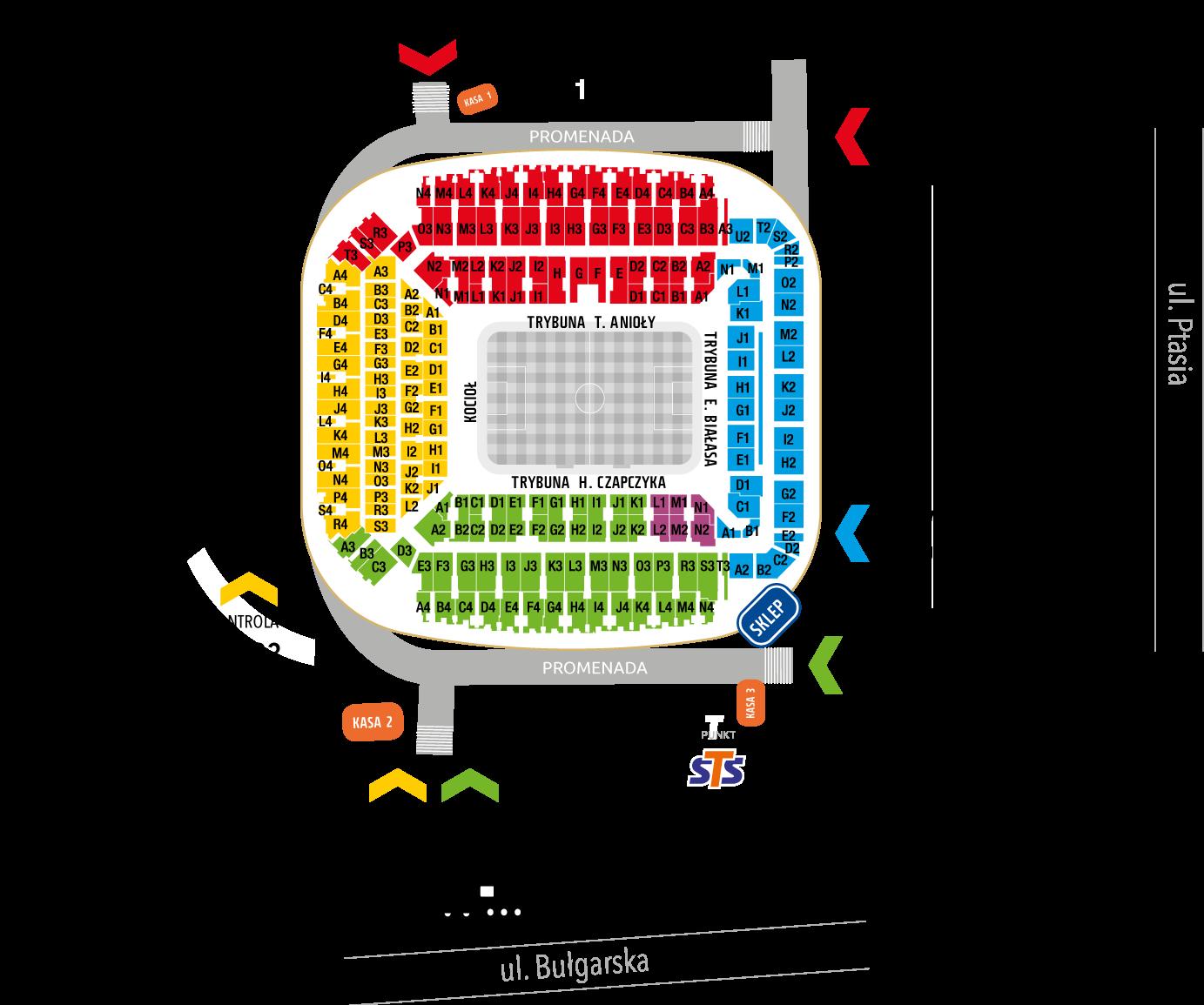 Mapa Stadionu Poznań